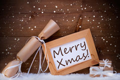 Chrsitmas Gifts With Text Merry Xmas, Snow, Snowflakes Royalty Free Stock Image