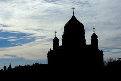 Chrst the Savior Church silhouette in Moscow Stock Images