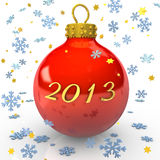 Chrstimas 2013. Text 2013 with christmas bauble, snowflakes and stars on the white background stock illustration