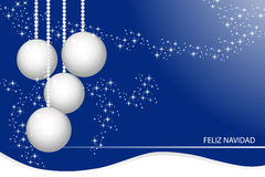 Chrstmas card. Christmas card with silver balls, snow and stars Royalty Free Stock Images
