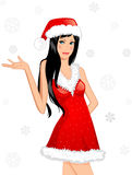 Chrstmas card. Girl in a hat. Stock Images