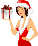 Chrstmas card. Girl in a hat. Royalty Free Stock Photos