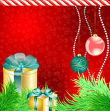 Chrstmas gift boxes with tree and balls. On stars background Stock Photos