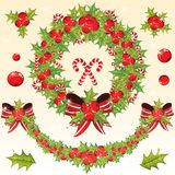 Chrtistmas decoration set with holly berry Stock Photography
