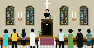 Chruch épiscopalien au printemps illustration de vecteur