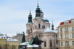 The Chruch of St. Nicholas in winter season at Prague Stock Image