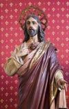 马德里-耶稣的心脏雕象从chruch圣真正的Jeronimo el的 免版税库存图片
