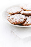 Chrunchy cookies dusted with icing sugar Stock Photos