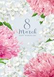 Chrysanten en Apple-bloesem voor 8 vector de groetauto van Maart stock illustratie