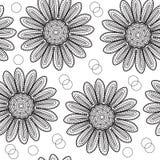 Chrysanthème sans couture floral de modèle, dans le style du dessin de main Fleurs noires et blanches Illustration de vecteur illustration libre de droits