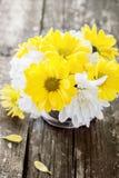 Chrysanthèmes blancs et jaunes de fleurs dans un bouquet Images libres de droits