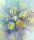 Chrysantheme blüht Aquarellhintergrund Abstraktes Salz machte Marmorhintergrund Stockfotos