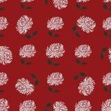 Chrysantheme mit gezeichnetem Muster des Blattgänseblümchens Hand auf Rot Lizenzfreie Stockfotografie