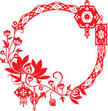 Chrysantheme und chinesisches Laternen-Grafikdesign vektor abbildung