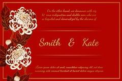Chrysanthemenweinlesekarte auf rotem Hintergrund Stockfotos