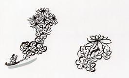 Chrysanthemum. Drawn with a brush felt pen. It's a traditinal subject Royalty Free Stock Photos