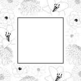 Chrysanthemum, Aster, Camellia, Cosmos and Lily Flower Banner Card Outline. Vector illustration. Chrysanthemum, Aster, Camellia, Cosmos and Lily Flower Banner vector illustration