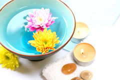 Chrysanthemum candle and spa Stock Photo