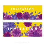 Chrysanthemum flower card template design. Stock Photos