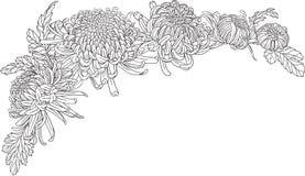 chrysanthemum flower corner ornament stock illustration