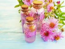 Chrysanthemum flower freshness handmade floral extract moisturizing on wooden background stock photography