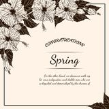 Chrysanthemum flower card by hand drawing Royalty Free Stock Photos