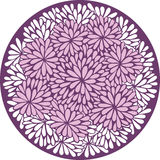 Chrysanthemum flowers ornament in circle. Round stylized background with chrysanthemum Royalty Free Stock Photos