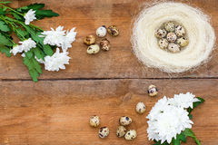 Chrysanthemum flowers, roses and quail eggs in a nest on old brown wooden background. stock image
