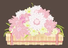 Chrysanthemum flowers in a wooden tray Royalty Free Stock Photography
