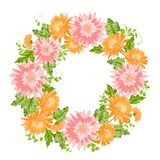 Chrysanthemum garland composition. Stock Photos