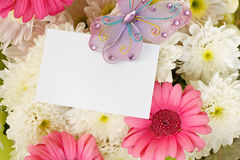 Chrysanthemum and Gerbera bouquet with copy space. White Chrysanthemum and pink gerbera Floral bouquet background with copy space for marketing message or Stock Photo
