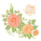 Chrysanthemum holiday card. Royalty Free Stock Photos
