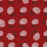 Chrysanthemum with leaves daisy hand drawn pattern on red Royalty Free Stock Photography