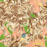 Chrysanthemum sketch bird decor seamless pattern Stock Photography