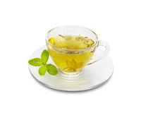 Chrysanthemum tea in a glass isolated on white background,clipp. Chrysanthemum tea in glass isolated on white background,clipping path royalty free stock images