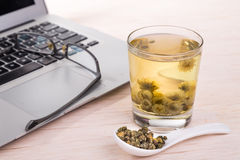 Chrysanthemum tea traditional remedy to improve eyesight, clear. Chrysanthemum tea is traditional Asian Chinese remedy to improve eyesight and clear liver heat royalty free stock photos