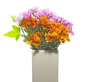 Chrysanthemum in a white vase Stock Images