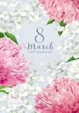 Chrysanthemums and Apple blossom for 8 March vector greeting car Royalty Free Stock Image