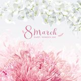 Chrysanthemums and Apple blossom for 8 March vector greeting car. Chrysanthemums and Apple blossom for 8 March. Flower vector greeting card in watercolor style Royalty Free Stock Photography