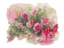 Chrysanthemums candles full. Chrysanthemums with candles isolated watercolor christmas card full Royalty Free Stock Photography