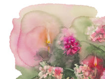 Chrysanthemums candles right corner. Chrysanthemums with candles isolated watercolor christmas card right corner Stock Photos
