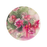 Chrysanthemums candles round. Chrysanthemums with candles isolated watercolor christmas card round Stock Photo