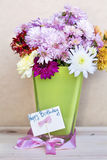 Chrysanthemums flowers in green  glass vase with happy birthday card. Purple chrysanthemums flowers with happy birthday  message in vase with pink ribbon Royalty Free Stock Photography