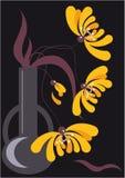 Chrysanthemums jaunes sur un fond noir Image libre de droits