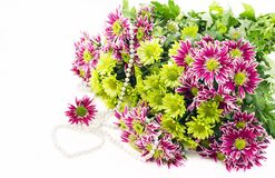 Chrysanthemums and pearl Stock Image