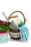 Chrysanths e strumenti di giardino Immagini Stock Libere da Diritti