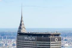 Chrysler Bldg en Metlife Bldg Stock Foto