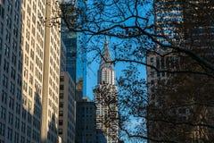 Chrysler budynek przy światłem dziennym w zimy popołudniu, środek miasta Manhattan, Nowy Jork usa obraz stock