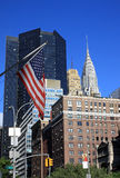 The Chrysler building in New York City. A view of New York with the american flag Royalty Free Stock Photography
