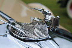 Classic american car hood ornament. CHRYSLER CD 8 DELUXE ROADSTER 1931 hood ornament mascot Stock Image